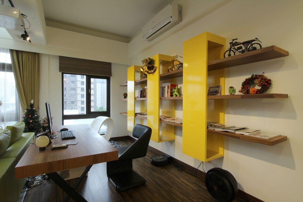 简约设计现代书房创意书架装饰图