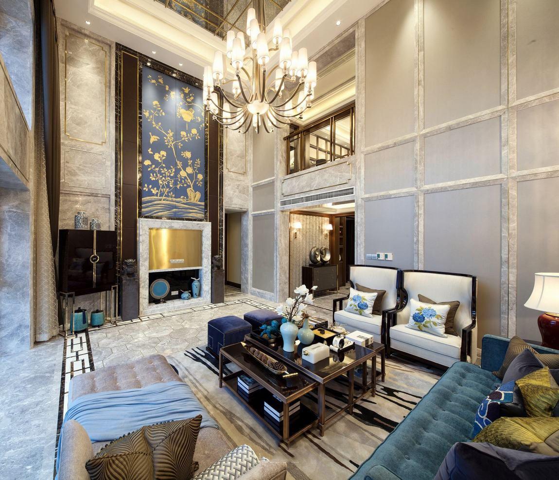 华丽精致美式装修别墅客厅背景墙图片