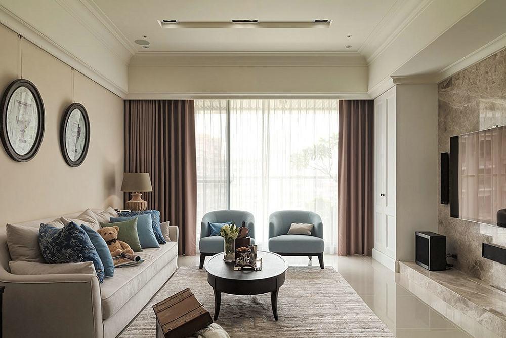 精致简约美式客厅窗帘效果图欣赏