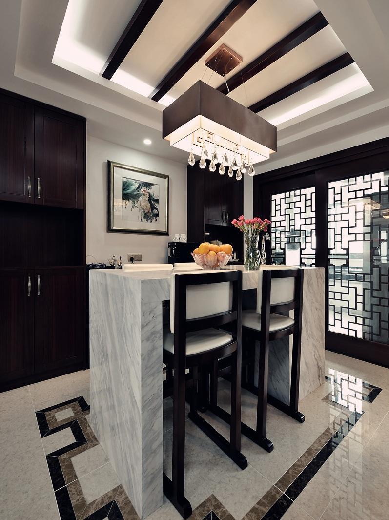 精美奢华混搭中式设计别墅吧台装效果图