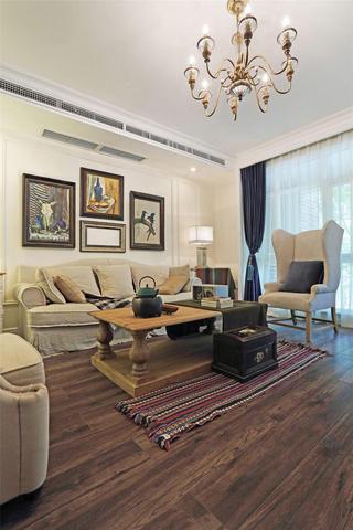 古朴悠闲美式风格三居客厅装饰案例图