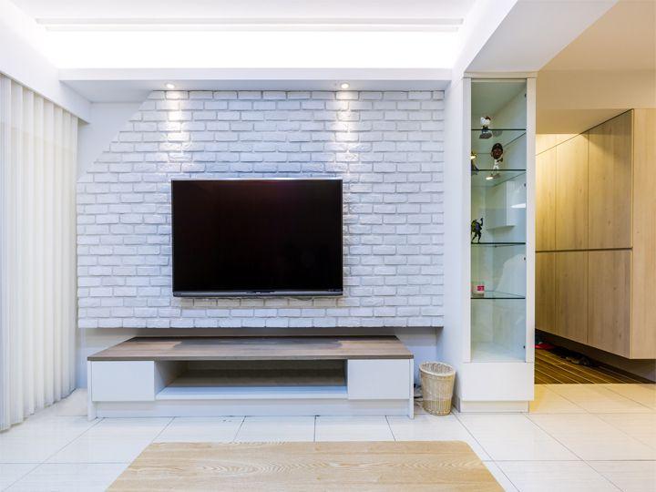 现代简约家居白色文化砖电视背景墙效果图