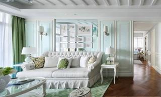 清爽浅绿清新美式风格二居室家装效果图