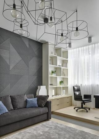 5萬元簡約裝修現代兩居室內效果圖
