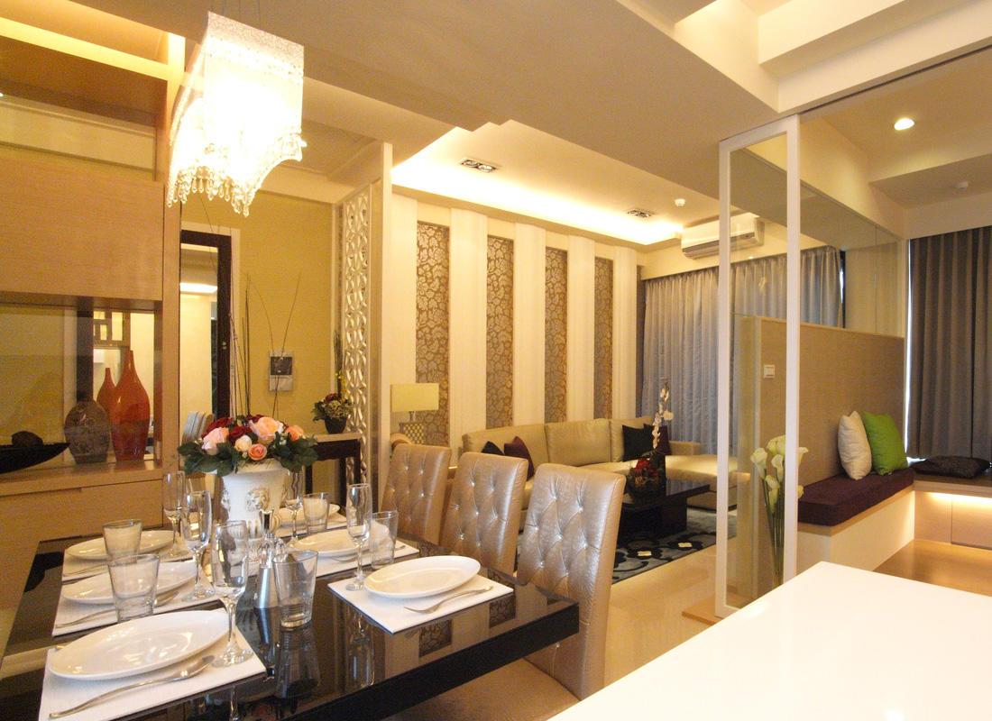 温馨优雅现代中式混搭客餐厅设计效果图