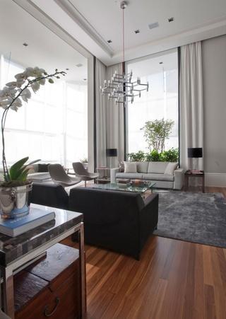 现代简约风混搭客厅吊顶效果图