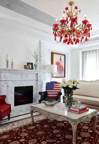 古典豪华欧式客厅红色金属吊灯装饰