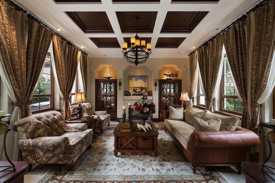 粗犷大气美式风格 别墅客厅装修效果图