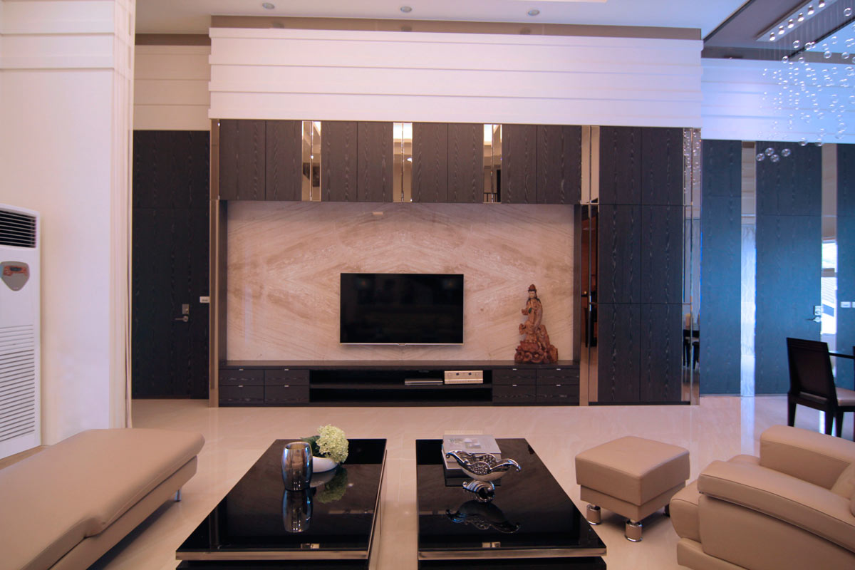 时尚现代风客厅黑色电视背景墙装饰效果图