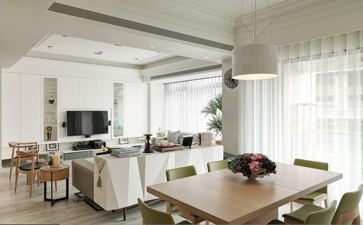 素雅简约美式设计客餐厅一体效果图
