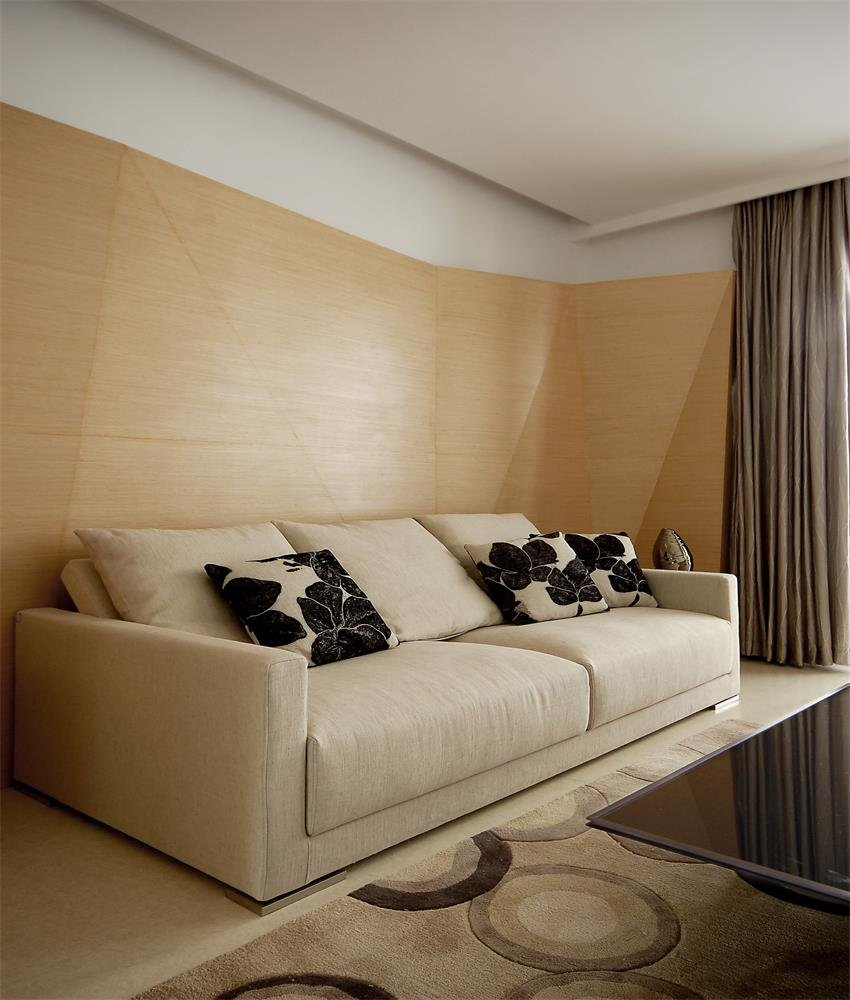 极简宜家客厅沙发原木背景墙装饰图片