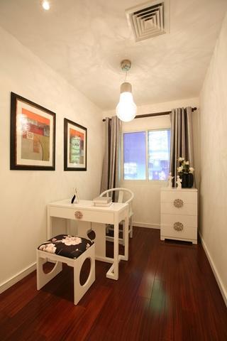 现代简中式风格单身公寓小书房设计装修图