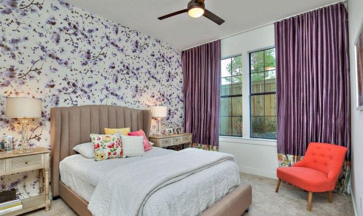 优雅现代简约风格卧室窗帘装饰效果图