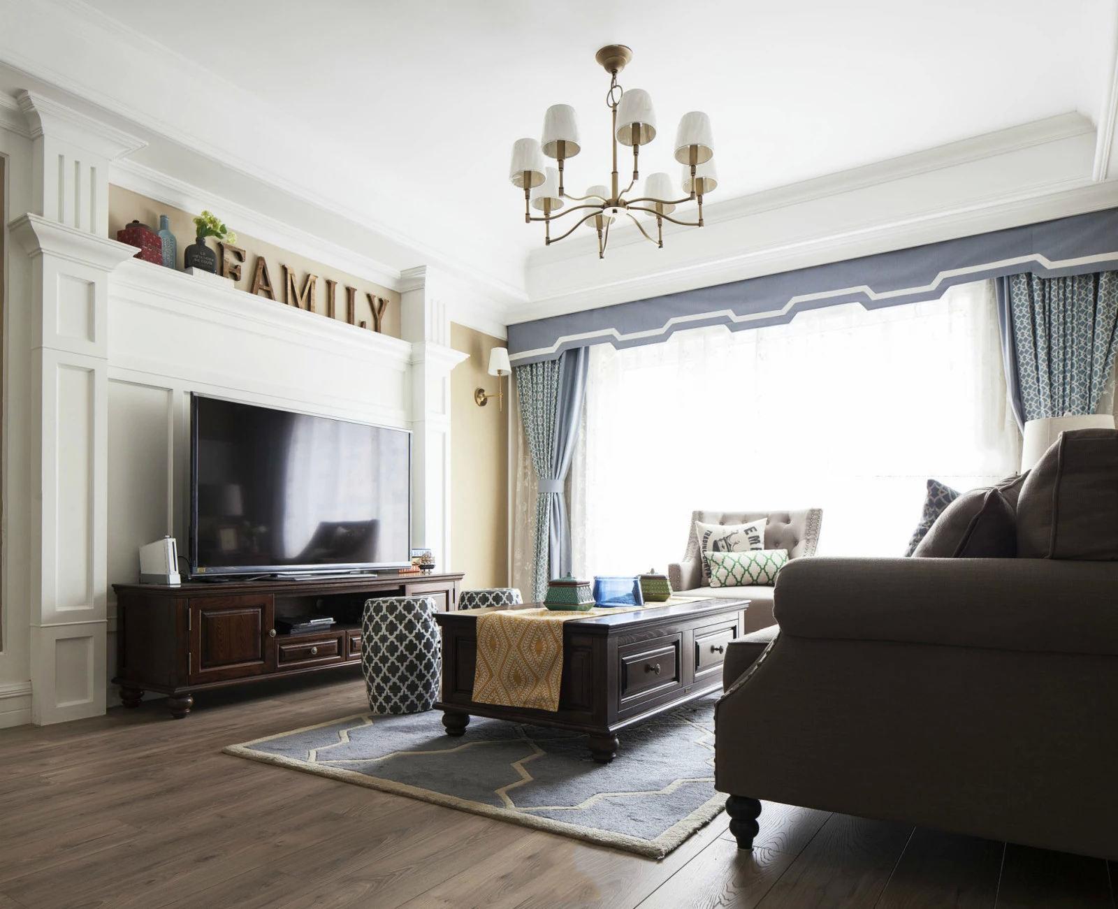 浪漫精致美式装修客厅电视背景墙效果图