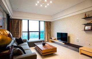 时尚现代日式混搭客厅硅藻泥电视背景墙装饰图