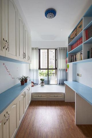 清新蓝色地中海设计书房榻榻米大全
