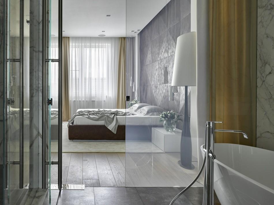 时尚现代风格主卧卫生间玻璃门隔断设计