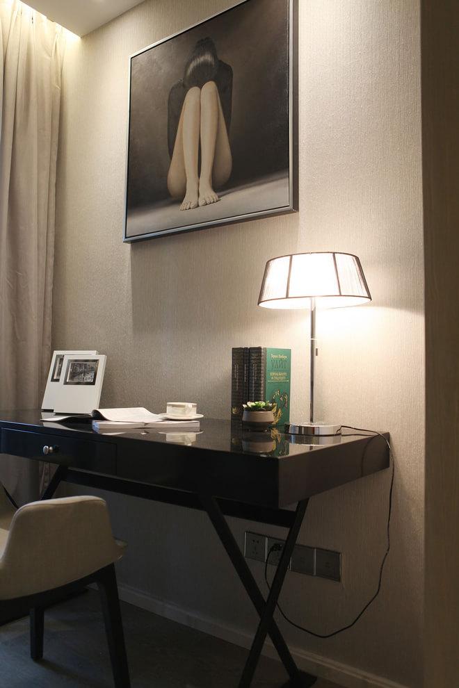 小户型现代简约书房黑色书桌装饰效果图