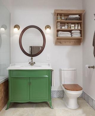 复古田园风格卫生间绿色洗手台效果图