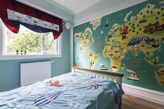 绿色童趣美式设计儿童房背景墙效果图