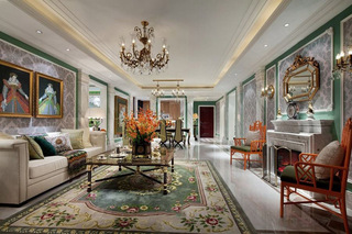 经典绿色豪华欧式风格别墅设计装潢案例