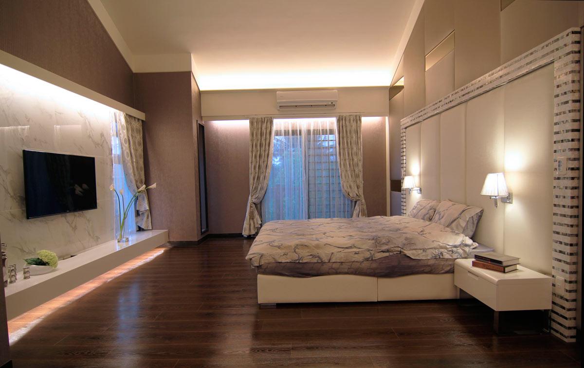 素雅中性色简约现代别墅卧室装饰大全