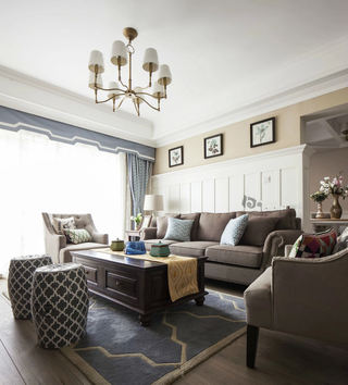 优雅美式田园风混搭客厅装饰大全