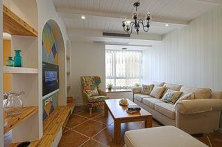 68平复古美式地中海家居设计二居装修效果图