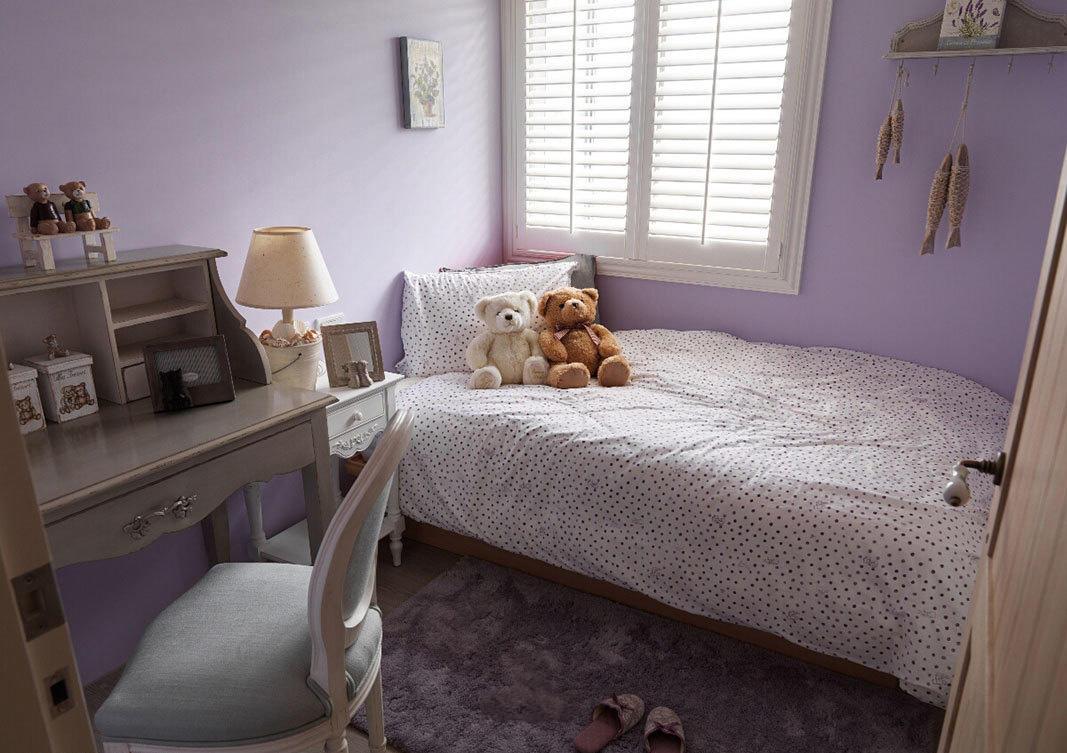紫色唯美美式儿童房装饰效果图