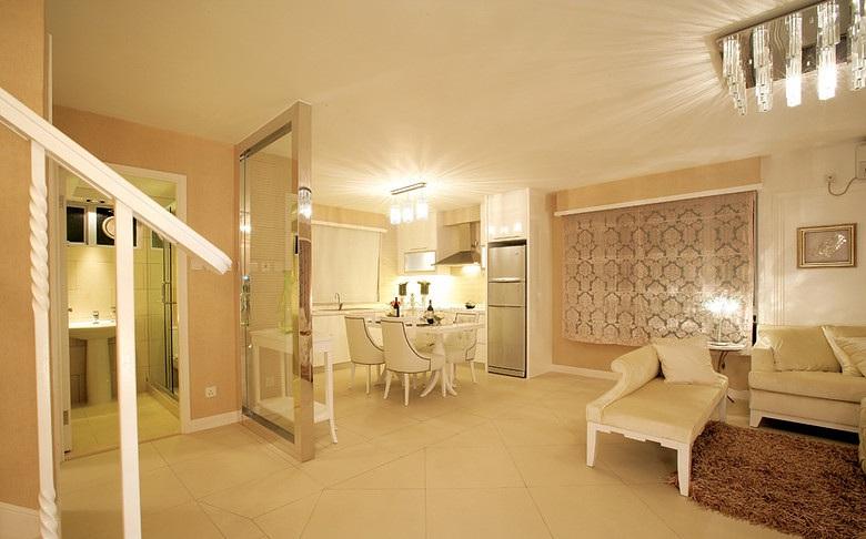 米白色温馨简约复式室内设计装潢效果图