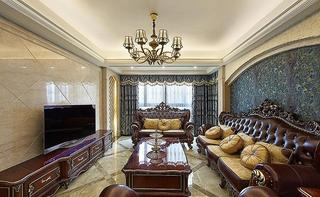 深枣红色古典欧式三室两厅装修案例图
