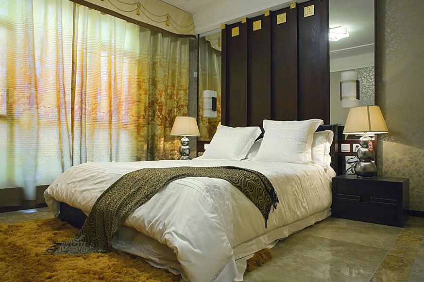 儒雅中式新古典卧室窗帘装饰效果图