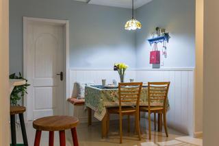 浪漫浅蓝色田园设计餐厅卡座装饰