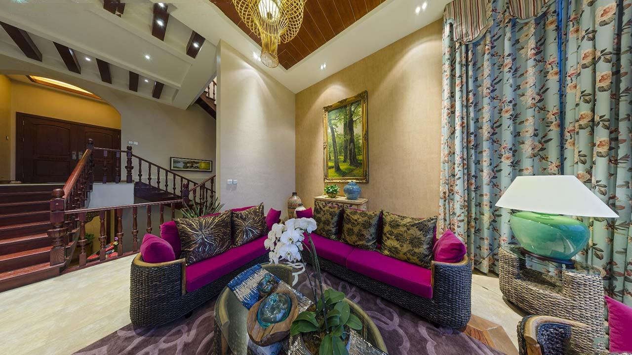 东南亚装饰风格客厅沙发搭配效果图
