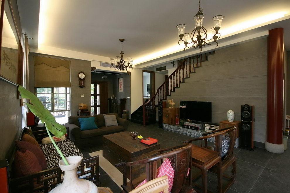 200平简朴中式古典风格别墅室内装修设计图