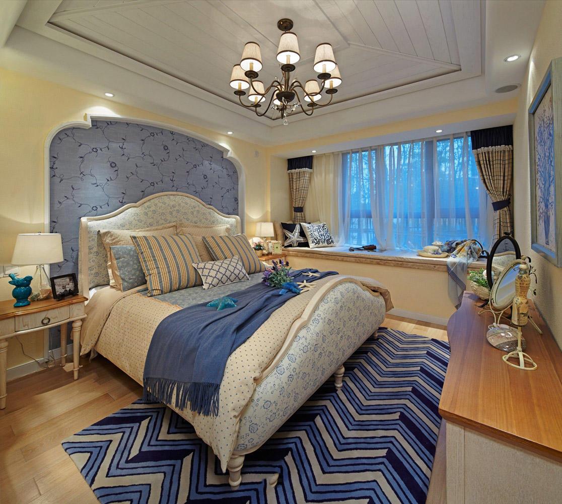 梦幻唯美蓝色地中海家装卧室效果图大全欣赏