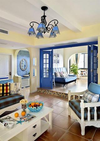 海天一色地中海风格客厅隔断设计装修图