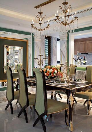 经典绿色豪华欧式风格别墅餐厅金属水晶吊灯装饰图
