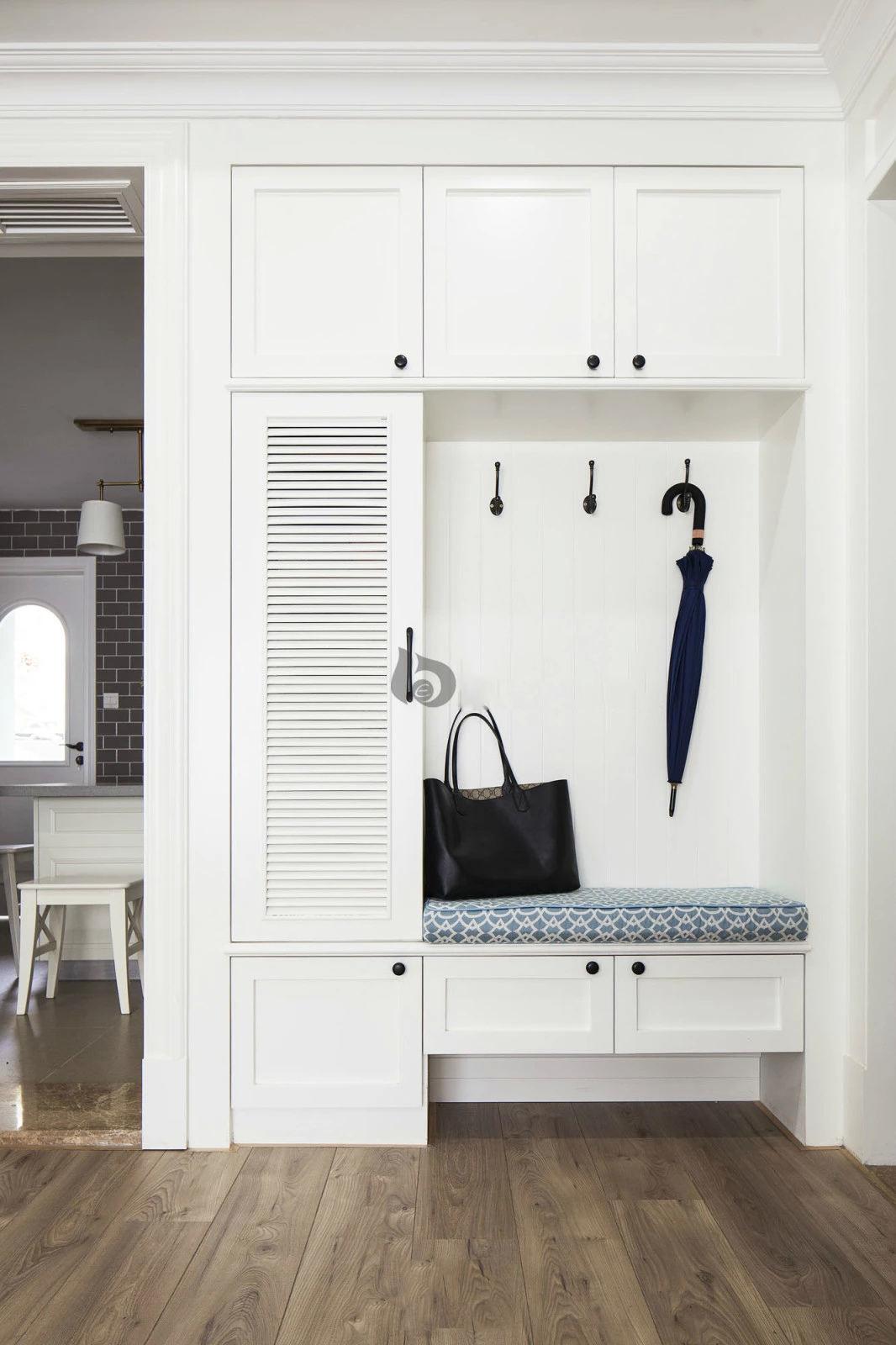 纯白美式家具设计玄关整体鞋柜设计