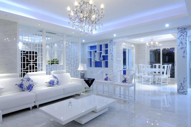 蓝白清凉中式青花瓷三居室内装饰美图欣赏