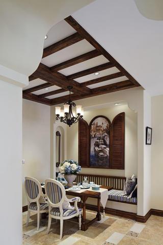 精美复古地中海设计餐厅实木吊顶效果图