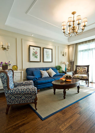精美复古美式风格客厅沙发背景墙效果图