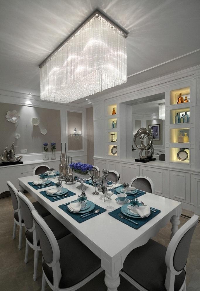 精致华美简欧风格餐厅流苏水晶吊灯装饰