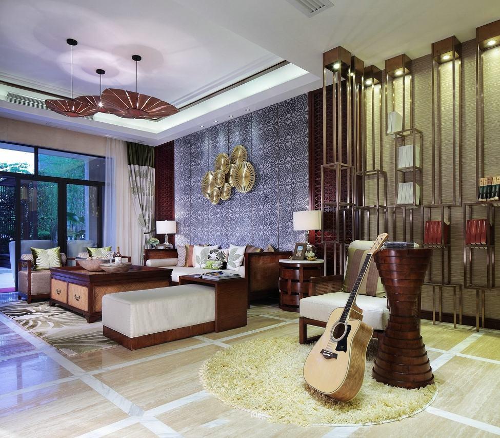 高贵东南亚家装客厅休闲区一体效果图