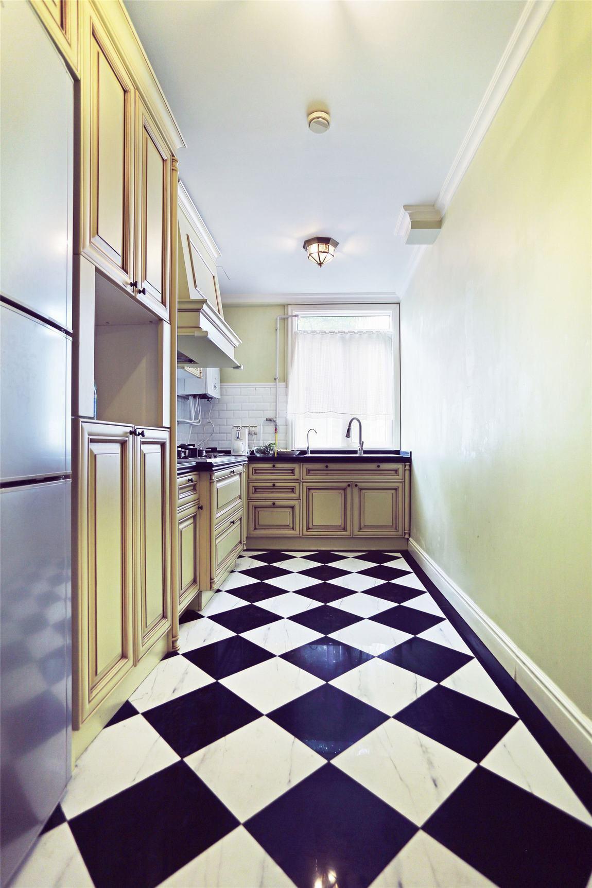 经典怀旧美式厨房黑白地砖装饰效果图