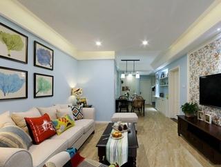 蓝色清新美式风格三居客厅装饰图欣赏大全