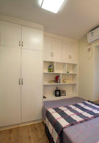 简约朴素现代风格卧室衣柜收纳柜一体设计