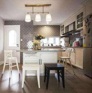 复古美式田园风厨房吧台设计效果图