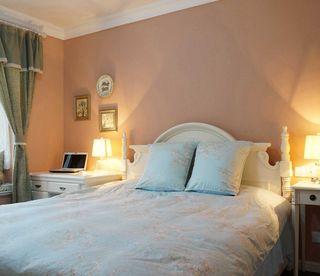 甜美温馨简约卧室橙色背景墙装潢效果图