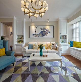 唯美蓝紫色系美式装修设计客厅装修大全
